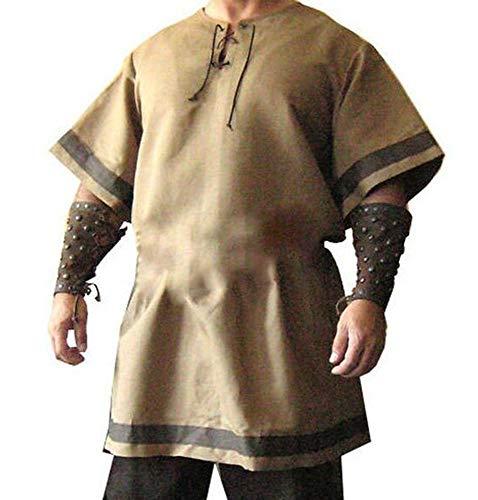 Hellomiko Hombres túnica Medieval Escote en v Pirata Disfraz Rendimiento Ropa Renacimiento Camisa Larga