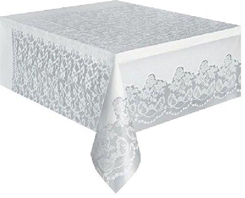 Cotillon d'alsace - Nappe blanche décorée plastique rectangulaire 135x270 cm