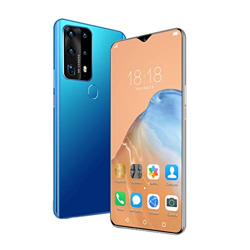 ZYHB Unlocked Cell Phones Smart 6.9inch Full Display 18MP Front 32MP Rear HD Camera Fingerprint Id and Facial Recognition, The Best Gift for Parents (Color : Blue)
