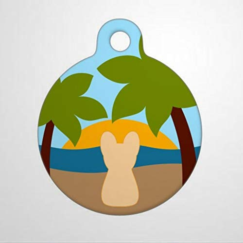Tropical Beach Frenchie Personalized Pet ID Tags, 1.38-1.5inch Cat Dog ID Tag & Two Sided Dog Name Tag.
