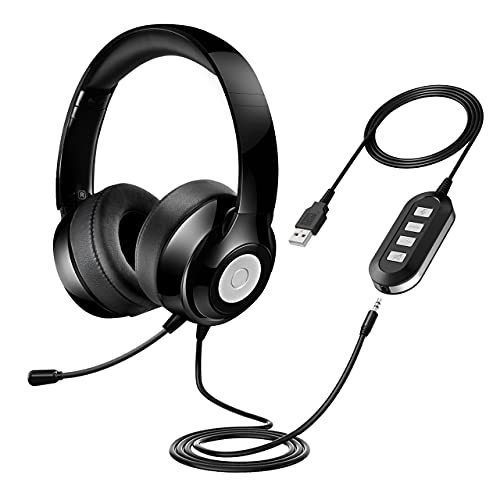 3.5mm/USB Computer Headphones with Microphone Noise Cancelling, USB Headsets with in-line Volume Control & Mute, Clear Call for Skype/Zoom/Team/Webex