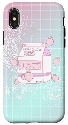 iPhone X/XS Aesthetic Pink otaku anime Japanese strawberry Milk carton Case