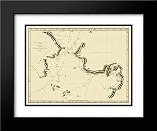 Norton Sound Bherings Strait Asia - Cook 1785 24x20 Black Modern Frame and Double Matted Art Print by Cook Vintage Map