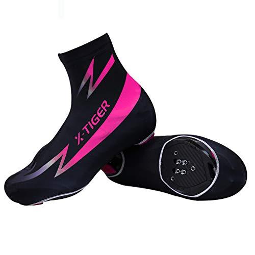 Road MTB Cycling Overshoes, Sello Impermeable Impermeable Zapatos A Prueba De Viento Cubierta para Hombres Mujeres, Lycra Liviana, con Cremallera Negra,Púrpura,L
