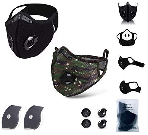 eHenZ LOT 2 PCS HZ Face Mesh Sports Protection Double Valve Couleur Black & Camouflage Inclus Filtres de 6 Couches Haute Filtration Double Charbon Active
