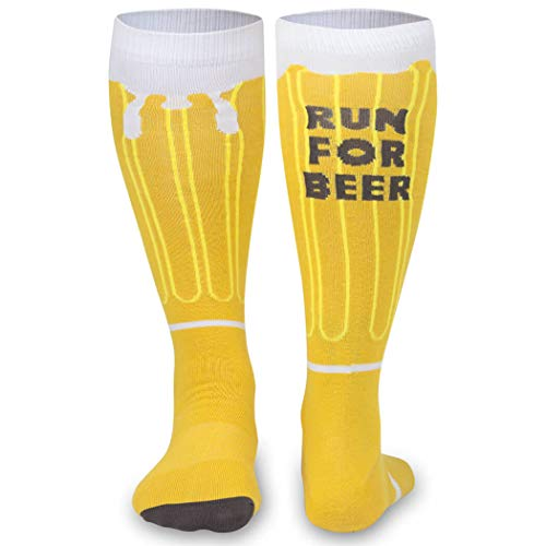 Run For Beer Knee High Half Cushioned Athletic Running Socks | Fun Running Socks by Gone For a Run