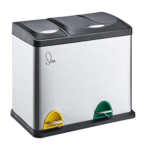 SVITA TC2Combo26 Edelstahl Küchen-Eimer 26Liter Silber 8L+18L kombiniert doppelt Abfalleimer 2er-Mülleimer Mülltrennung Treteimer