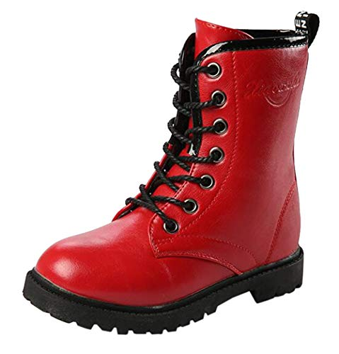 DADAWEN Boy's Girl's Waterproof Outdoor Combat Lace-Up Side Zipper Mid Calf Boots Red US Size 7 M Big Kid