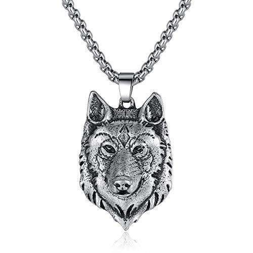 Holyheart Pewter Viking Fenrir Wolf Head Necklace, Celtic Pagan Wolf Lover Jewelry, Norse Forest Wolf Necklace, Handmade Amulet Pendant Necklace, Handcrafted Viking Jewelry Gifts for Men