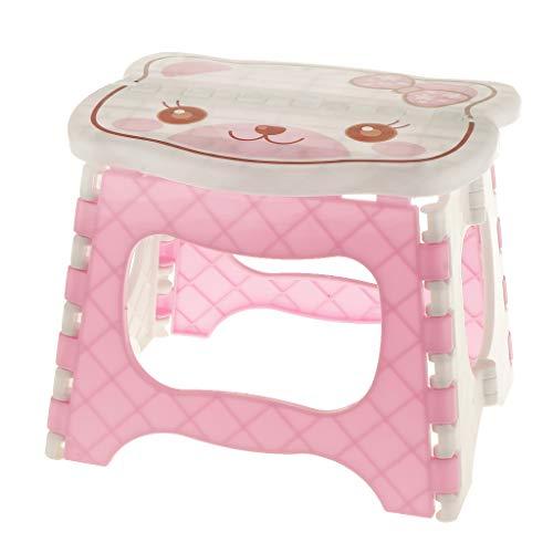MagiDeal Niedlich Kinderzimmer Hocker faltbar Klapphocker klappbar Tritthocker Kunststoff Klappstuhl Sitzhocker - Rosa