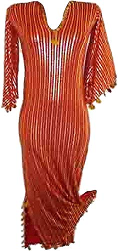 NANCY Egypt Mart Women Belly Dance Folkloric Baladi Galabeya Dress Costume Multiple Colors (Red X Gold)