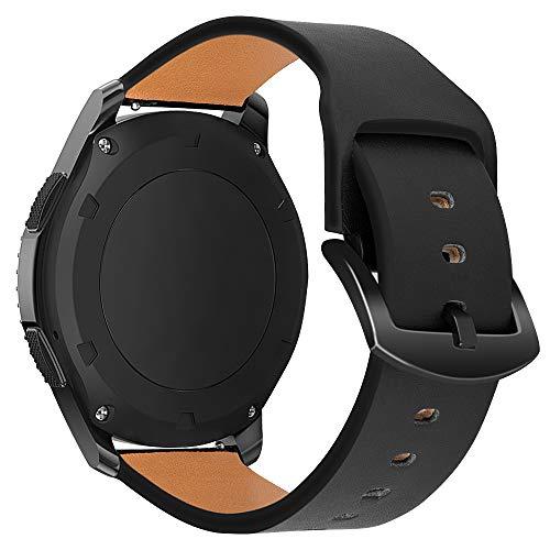 iBazal 22mm Armband Leder Uhrenarmband Armbänder Ersatz für Samsung Galaxy Watch 3 45mm/Galaxy Watch 46mm, Gear S3 Frontier/Classic, Huawei GT/2 Classic/Honor Magic,Ticwatch Pro Herren - Schwarz