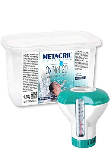 Metacril Ossigeno Attivo in pastiglie da 20gr - OXI Net 20 kg.1,2 + Dosatore Galleggiante c/Termometro. per Piscina e Idromassaggio (Teuco,Jacuzzi,Dimhora,Index,Bestway, ECC.) Spedizione IMMEDIATA