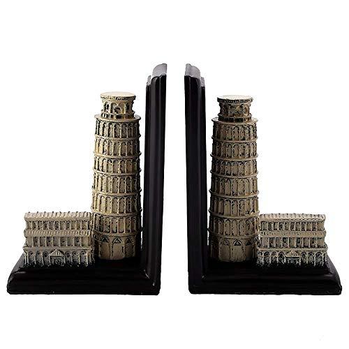 Extremo y tapón de libro pesado |Estatuas de resina vintage Torre inclinada de Pisa Sujetalibros decorativo |Separadores de libros decorativos para escritorios |Juego de 1 |Soporte de libro de esc