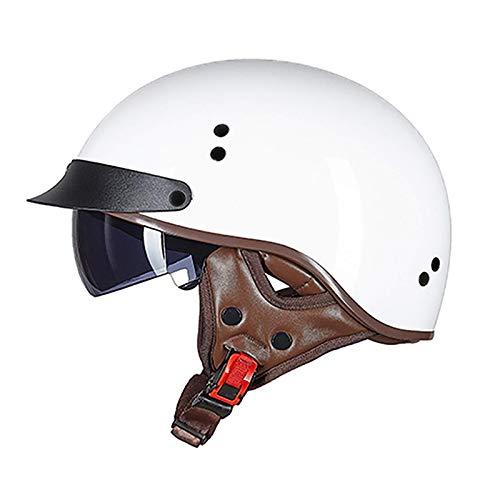 ACEMIC Casco clásico retro aprobado por DOT para uso en moto de crucero chopper scooter visera de liberación rápida hebilla media casco C, M = 55 ~ 56 cm abierto casco de motocicleta