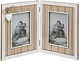Maturi Marco de Fotos de Madera Envejecida con Detalles de corazón, marrón y Blanco, Double Aperture