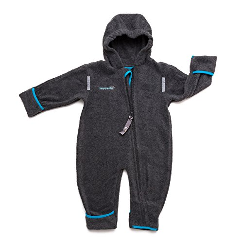 HOPPEDIZ Fleece-Overall 80-86 anthrazit