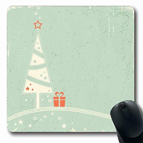 Mousepad Stilisierte Weihnachtsfarben Für Baum Ihr Retro-Geschenk Auf Texturen Nostalgische Abstrakte Feiertage Altes Mousepad Länglicher Gummi 25X30Cm Rutschfeste Mausmatte Büroc