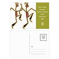 面白いエジプトダンスパターン図 詩のポストカードセットサンクスカード郵送側20個
