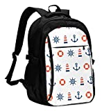 asfg Resistente a Las Manchas Lighthouse Lifebuoy Rudder Multifunctional Personalized Customized USB Backpack, Student School Outdoor Backpack,Travel Bag Laptop Bookbags Business Daypack.