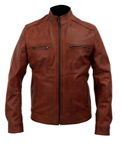Leatherly Genuine Cowhide Leather Brett Dalton Agents of Shield Grant Ward Brown jacket-3xl