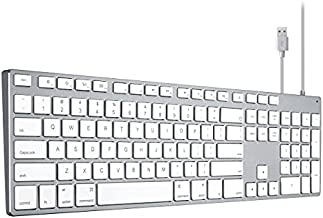 Keyboard Wired USB for iMac, Mac Keyboards with Numeric Keypad Aluminum Full Size Compatible with Apple iMac maca Magic MacBook Pro/Air Laptop and Computer Windows PC Teclado