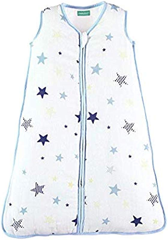 Molis Co 2 5 TOG Padded Baby Sleeping Bag And Sack Super Soft And Warm Wearable Blanket 6 12 Months 31 5 Ideal For Winter Unisex Star Print In Blue And Beige