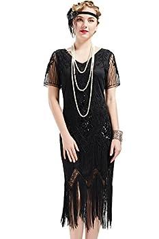 BABEYOND 1920s Art Deco Fringed Sequin Dress 20s Flapper Gatsby Costume Dress  Black Medium