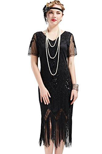 BABEYOND 1920s Art Deco Fringed Sequin Dress 20s Flapper Gatsby Costume Dress (Black, XXL)