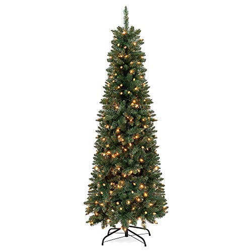 Best Choice Products 6ft Pre-Lit Hinged Fir Artificial Pencil Christmas Tree w/ 250 Warm White Lights, Foldable Stand, Green