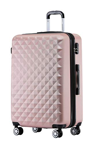 BEIBYE Zwillingsrollen 2066 Hartschale Trolley Koffer Reisekoffer Gepäck M-L-XL-Set (Rosa Gold, XL)