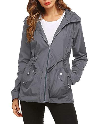 Imily Bela Damen Regenjacke Wasserdicht mit Kapuze Leicht Kurz Regenmantel Winddicht Parka Outdoor Sport Jacke,XL,Grau