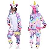 YQ&TL Niños Unisex Unicornio Onesie Pijamas Halloween Cosplay Traje Unicornio Traje Ropa de Dormir Fiesta de Disfraces C 140cm