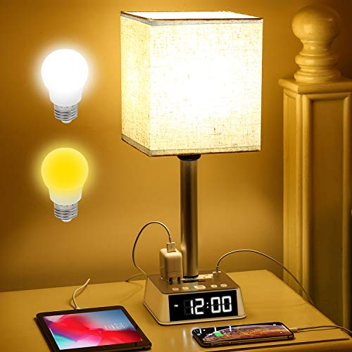 Table Lamp - Bedside Table Lamps with 4 USB Ports and AC Power Outlets, Alarm Clock Base w/ 6Ft Extension Cord, Square Oatmeal Fabric Lampshade Modern Accent Nightstand Lamps for Bedrooms Living Room