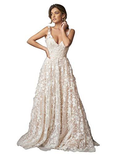 TIANSHIKEER Vestido de novia largo de encaje de tul 3D flores vestido de boda mujer línea A escote en V elegante vestido de novia beige 34