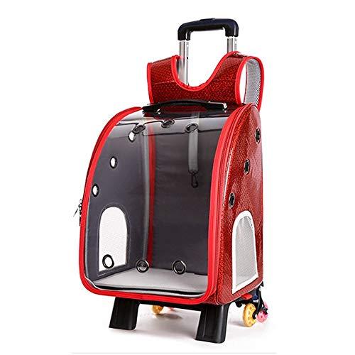 HUANGRONG Pet Dog Trolley Backpack Portable Outdoor Cat Dog Carrier Bag Travel Wheeling Suitcase For Pet Travel Transparent Case (Color : Rod enlarged red)