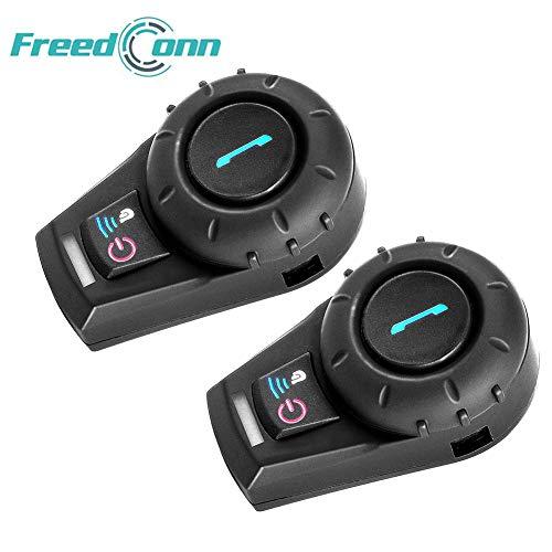 Freedconn 2 x FDCVB Intercomunicador Inalambrico 500m Intercom Interfono (Entre 2 Pilotos, Bluetooth, A2DP, Manos Libres, FM Radio) Auricular Casco para Moto Motociclista