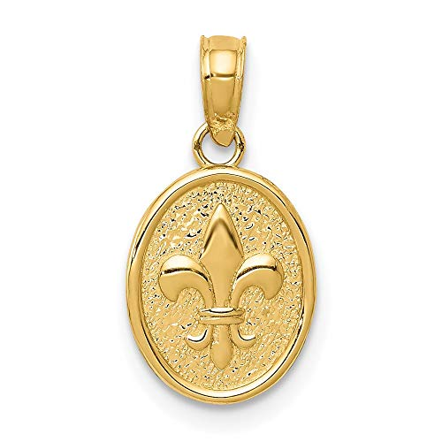 14k Yellow Gold Small Fleur De Lis In Oval Pendant Charm Necklace Fine Jewelry For Women Gifts For Her