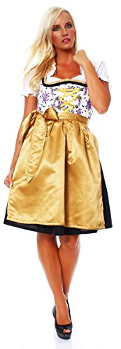 Fashion4Young 10625 Damen Dirndl 3 TLG.Trachtenkleid Kleid Mini Bluse Schürze Oktoberfest (34, Schwarz-Weiß-Gold)