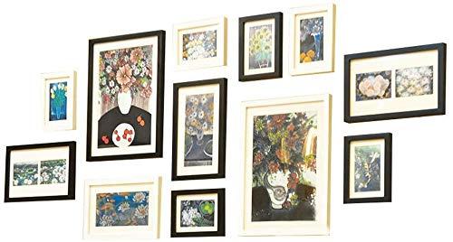 HEWEI 12-delige fotogalerij Kit, Muurmontage Collage Fotomuur, Met Glas Raamdecoratie Woonkamer Corridor Multi-foto Frame 3 Kleuren (kleur : A)