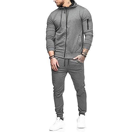 Limsea Men's Autumn Patchwork Zipper Sweatshirt Top Pants Sets Sports Suit Tracksuit(Grey,XL)
