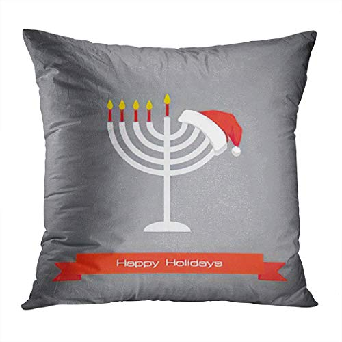 Chanukah Throw Pillow Cover,Happy Holidays; Merry Christmas and Hanukkah,Cushion Cases Shams for Indoor Outdoor Home Decor Living Room Bedroom Office Cotton Pillowcase,18'x18'