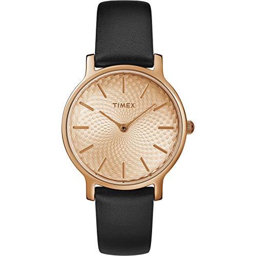 Timex Women's TW2R91700 Metropolitan 34mm Black/Rose Gold-Tone Leather Strap Watch