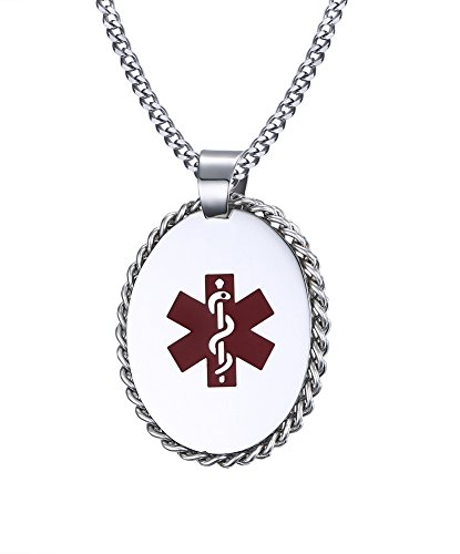 Affordable VNOX Free Engraving Stainless Steel Medical Alert ID Pendant Necklace 24 inch