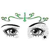 Neon Face Jewels Fluorescent Face Sticker/Luminous light reactive Body Gem glitter tattoos/A Pack of Neon Diamonte Bindi Gems/Add face paint for festival Make up beauty essentials BV01gre