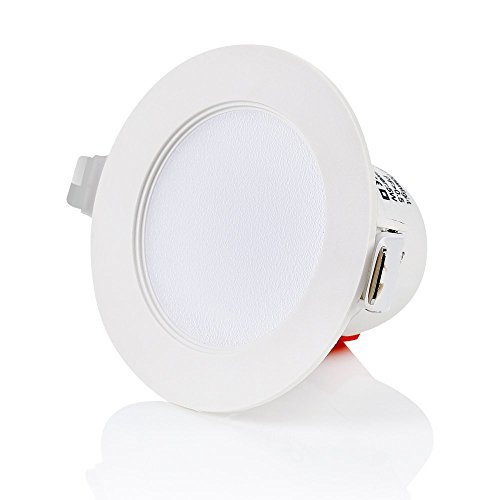 sweet led® Flach IP44 , 10W 850 Lumen , Ø 116mm , LED Einbaustrahler Flach ,230V ,Weiß Rahmen , Bad Einbauspots Badleuchten(Warmweiß)