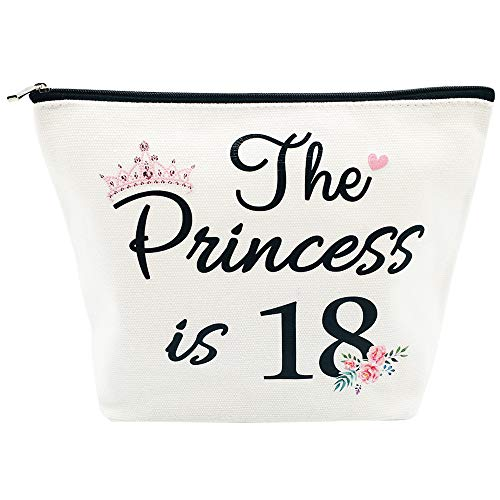 18th Birthday Gifts for Women Best Friend Daughter Funny 18 Year Old Birthday Gift for Her The Princess is 18 Cute Makeup Bag Celebrate Turning Eighteen