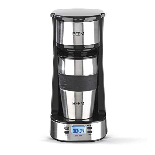 BEEM THERMO 2 GO Single-Filterkaffeemaschine - Thermo | Inklusive 0,4 l Thermobecher to go und Permanentfilter | 24h-Timer | 750 W | Edelstahl