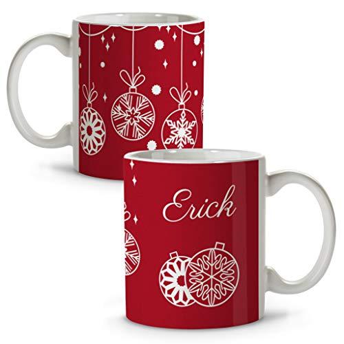 Taza Navidad Personalizada con Nombre. Regalos Navidad Personalizados. Tazas Personalizadas de cerámica. Varios diseños y Colores de Interior. Bolas DE Navidad
