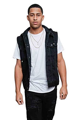 Victorious Detachable Hood Denim Jean Vest Jacket DK108 - Jet Black - X-Large - GG1F